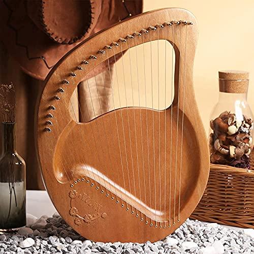 HYTGF Arpa de Lira,24 Cuerdas de Metal,Arpa de Caoba, para Amantes de la música, Principiantes, niños, Adultos, con Martillo de afinación y Estuche de Transporte,002,24 Strings