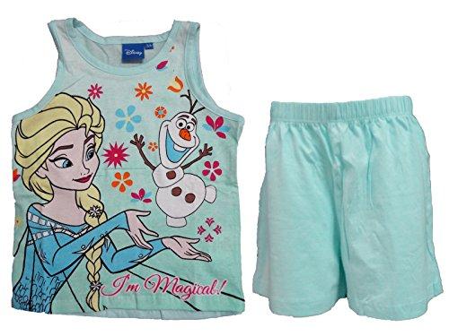 Disney Pigiama Bimba Corto Spalla Larga in Cotone Frozen Art. 27-277 (Azzurro, 7/8 Anni)
