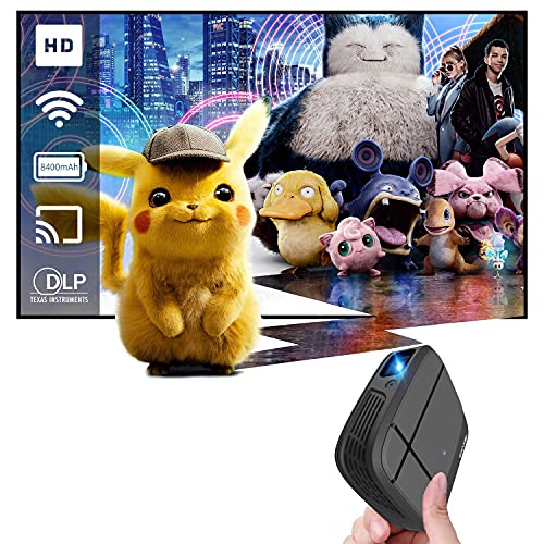 Mini Projector with WiFi Portable Video Projector for iPhone Android Phone Ultra Pico Projector 1080P Supported/ Wireless Mirroring Airplay / Auto Keystone/ Pocket DLP Projector for Outdoor Movie -  CAIWEI
