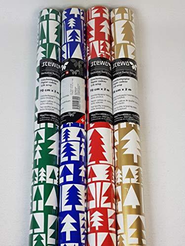 127580, 4 Rollen 200 x 70 cm STEWO Weihnachts Geschenkpapier CHRISTMAS FIR TREE, höchste Qualität, EXTRA REISSFEST, Weihnachtsgeschenkpapier, Weihnachten Geschenkpapier
