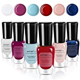 BONTIME Non-Toxic Nail Polish - Easy Peel Off & Quick Dry, Organic Water Based Nail Polish Set for Women,Teens,Kids(6 Colors,0.27 fl oz)