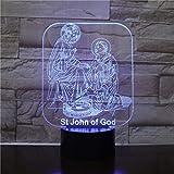 San Juan de Dios 3D acrílico LED luz nocturna decoración del hogar iluminación USB regalo