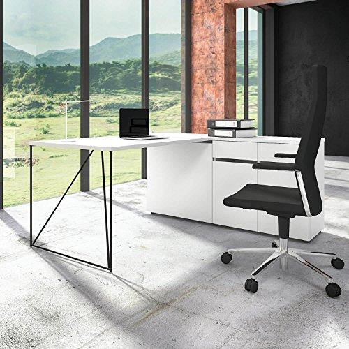 Weber Büro Profi Schreibtisch AIR mit integriertem Sideboard Bürotisch Computertisch Tisch, Gestellfarbe:Schwarz