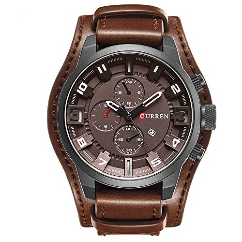 CURREN Herren Analog Digital Quarz Armbanduhr Casual Business Uhren mit Lederarmband