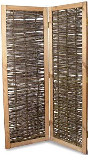 Weidenprofi Sichtschutz, Paravent aus Weide, Modell Elegant - Größe (BxH): 120 x 180 cm, 2-TLG. Paravent