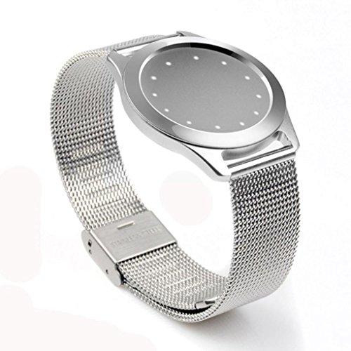 Tiean Steel Wristband Strap Bracelet Sleep Fitness Monitor For Misfit Shine 2 (Sliver)