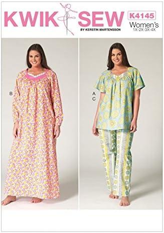 KWIK SEW Ladies Plus Size Easy Sewing Pattern 4145 Pyjamas Nightgown product image