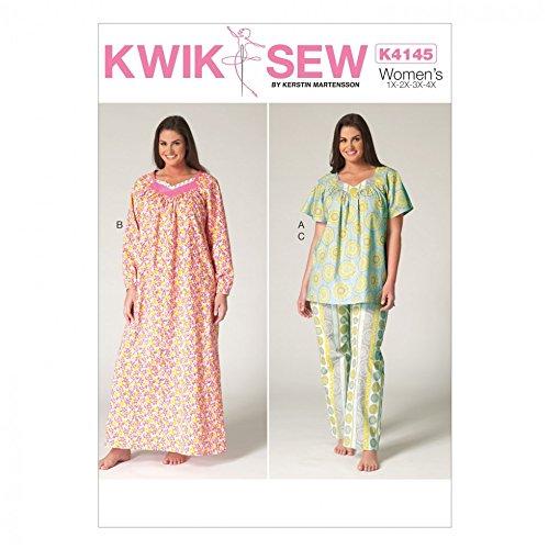 KWIK SEW Schnittmuster für Damen, Übergröße, Pyjamas und Nachthemd K4145, Tissue, Mehrfarbig, Einheitsgröße