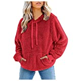 Felpa da donna con cappuccio in lana, invernale, calda, spessa, tinta unita, tasche con zip, abbigliamento esterno antivento, &01 Rot, L