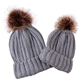 puseky 2pcs sombreros a juego de la familia de la madre y el beb gorro de esqu de invierno clido para padres e hijos gorro de esqu