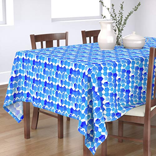 Roostery Tablecloth, Blue Dreidel Watercolor Holiday Hanukkah Chanukah Modern Tradition Cest La Kids Print, Cotton Sateen Tablecloth, 70in x 120in