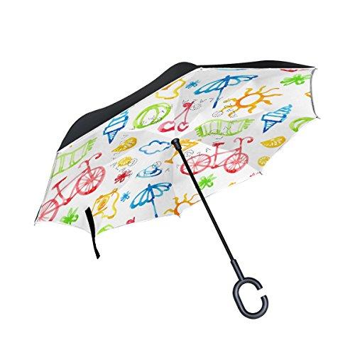 isaoa Große Schirm Regenschirm Winddicht Doppelschichtige seitenverkehrt Faltbarer Regenschirm für Auto Regen Außeneinsatz,C-förmigem Henkel Regenschirm Kamera Bike EIS Regenschirm