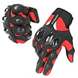 kemimoto Summer Motorcycle Gloves Men Women, Riding Moto Touchscreen Motocross Dirt Bike Bicycle Motorcycling Gloves Outdoor Driving ATV Off-Road Hard Knuckle Powersports Breathable Gloves (Red, M)
