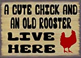 A Cute Chick & an Old Rooster Live Here Rustic Metal Tin Sign Retro Kitchen Garden Restaurant Farm Shopping Center Park Man Cave Farm Wall Decoration Iron Painting Metal Plate 8x12inch