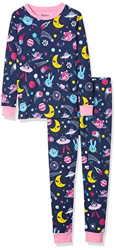 Hatley Mädchen Organic Cotton Long Sleeve Printed Pyjama Sets Zweiteiliger Schlafanzug, Animal Cosmos Glow, 4 Jahre