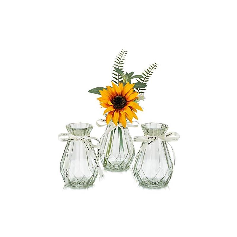 silk flower arrangements flower vases glass with twine rope 3 pcs/set floral arrangements artificial with vase unique shapes creative for wedding, home, garden decoration