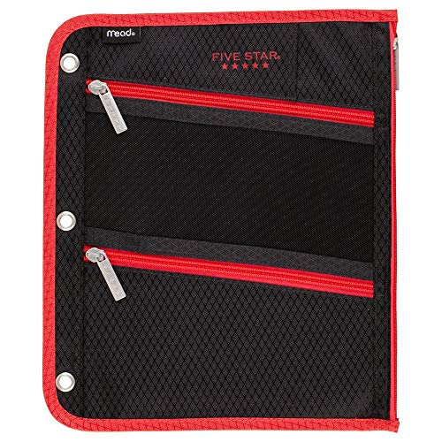 Five Star Pencil Pouch, Pen Case, Fits 3 Ring Binder, Zipper Pouch, Black/Red (50642CE8)