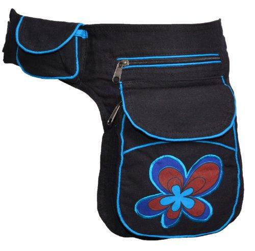 KUNST UND MAGIE Goa Schulter/Bauchtasche Gürteltasche Bauchgurt Hippie Psy Flower, Farbe:Schwarz/Blau
