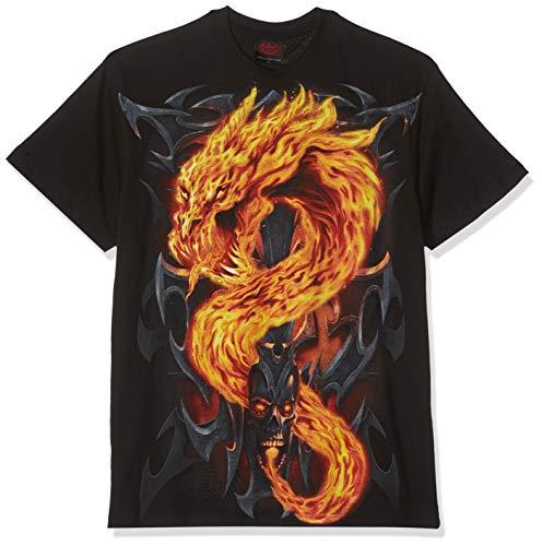 Spiral Fire Dragon Camiseta Negro S