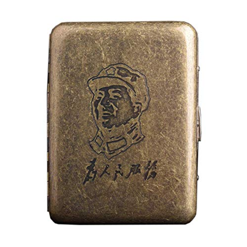 AoFeiKeDM Caja de cigarrillos 16 piezas de cobre a prueba de moleteado patrón ultra fino retro metal caso de cigarrillo personalidad servicio dorado