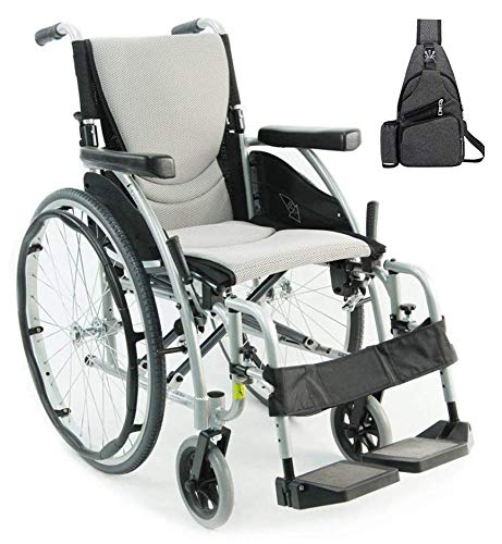 Karman S-Ergo 115 Ultra Lightweight Ergonomic Wheelchair | Seat Size 16' X 17' | Swing Away Footrest | Fixed Wheels in Silver & Free Black Medical Utility Bag!