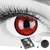 Farbige rote Crazy Fun Kontaktlinsen 'Red Flower' ohne Stärke mit