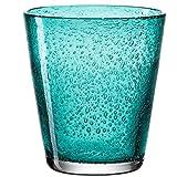 Leonardo Burano Trink-Gläser, 6er Set, handgefertigte Wasser-Gläser, spülmaschinengeeignete Gläser, bunte Becher aus Glas, türkis, 330ml, 034758