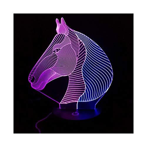 TIDRT Caballo 3D Luz Creativa Led Luz Nocturna Iluminación Visual Decoración De La Habitación Novedad Niños Niño Fiesta Regalo Niña Lámpara De Mesa
