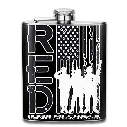 iuitt7rtree Remember Everyone Deployed Military R.E.D Stainless Steel Flask Wearproof 7OZ Hip Flask Camping Wine Pot Whiskey Wine Flagon Mug