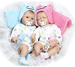 Pinky 55cm 22 inch Realistic Looking Soft Vinyl Silicone Lifelike Sleeping Baby Girl Toddler Toy Reborn Baby Boy Dolls Twins Magnetic Mouth Dummy