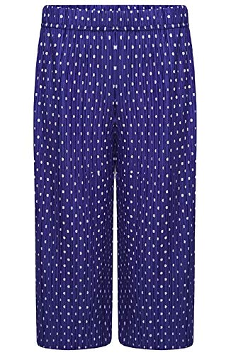 Islander Fashions Damen 3/4 Crinkled Polka Dot breites Bein Cullotes Hosen Damen Party Wear Hosen lila EU 40-42
