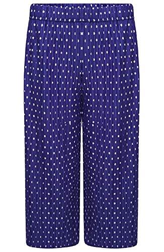 Islander Fashions Damen 3/4 Crinkled Polka Dot breites Bein Cullotes Hosen Damen Party Wear Hosen lila EU 52-54