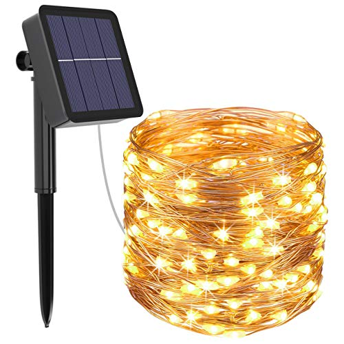 Btfarm 120LED Solar Fairy Lights 8 Modes Solar Garden Lights 12M/39FT Waterproof Micro Copper Wire Solar Powered String Lights for Tree Fence Wedding Party Birthday Xmas Decoration (Warm White)