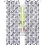 jinguizi Cortina de ventana con diseño geométrico japonés de abanico, 52 x 72, cortinas opacas para dormitorio de los niños
