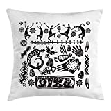 Xukmefat Primitive Dekokissen Kissenbezug, Tribal Folklore Doodles Dancing Figure and Animal Symbols...