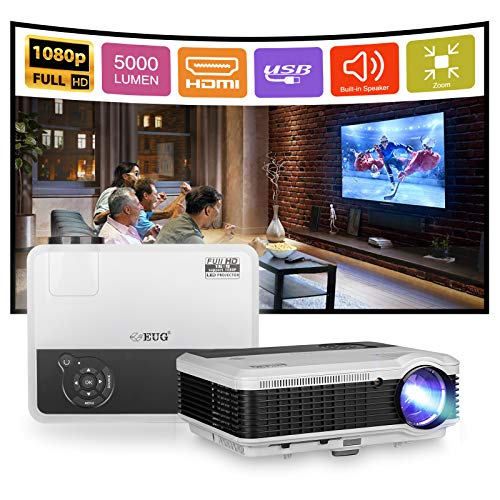 EUG 5000Lumen HD Projector 1080P Home Theater Compatible with Chromecast TV Stick, Playstation 5 DVD LED Digital Projectors Gaming Outdoor Movies