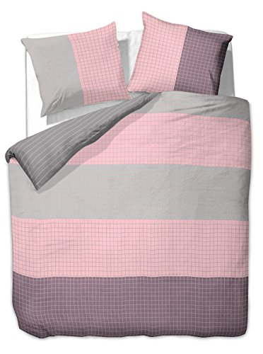 Funda nórdica con 1funda de almohada de 80x 80/2Fundas de almohada 100% algodón Öko-Tex Standard 100tiras de cuadros de 60grados lavable Diamond Violetta púrpura gris rosa, algodón, violett grau rosa, 200 x200