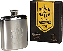 Gentlemen's Hardware Silver Hip Flask 6oz 'Down the Hatch' by Wild and Wolf