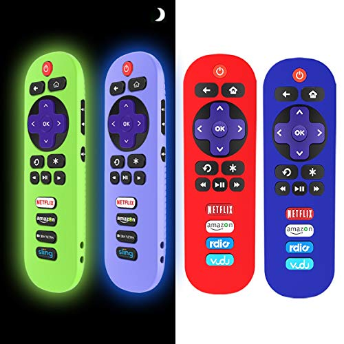 [4 Pack] Silicone Case for TCL Roku TV RC280 Remote, Protective Universal Replacement Lightweight/Shockproof TCL Roku TV Remote Cover with Lanyard (Glow Blue+Glow Green+Red+Blue)