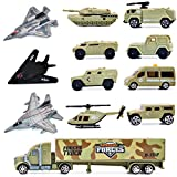 deAO 12 Pieces Special Forces Assorted Military Vehicles Scaled Army Toy Play Set  Stealth Bomber, Tank, Helicopter, Jets and more!