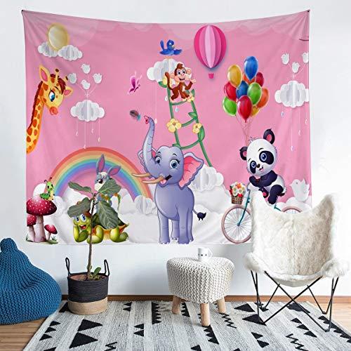 Tapiz de panda para niños y niñas, diseño de conejo, diseño de tortuga, ideal para colgar en la pared, ideal para el dormitorio, sala de estar, 152 x 223 cm