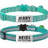 TagME Collar de Gato Personalizado, Reflectante Collares para Gatos con Cascabeles y Hebilla Seguro de Liberación Rápida, 2 Piezas Turquesa