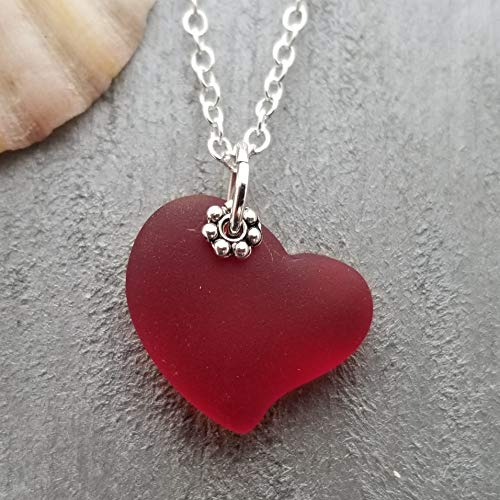 Handmade in Hawaii, Red Heart sea glass necklace,'January Birthstone','Valentine's Day Gift', (Hawaii Gift Wrapped, Customizable Gift Message)