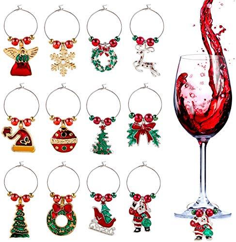 Firlar, 12 targhette per bicchieri di Natale, per bevande e bevande, ciondoli in vetro, decorazioni per anelli in metallo, accessori per vino, segnapunti per bicchieri di vino, per feste, Natale