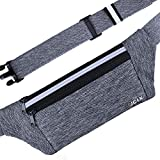 JCLX Running Waist Packs, Ultra Light Bounce Free Waist Pouch Fitness Workout Belt Sport Waist Pack Exercise Waist Bag for Apple iPhone 8 X 7 6+ 5s Samsung in Running Gym Marathon Cycling(Gray)
