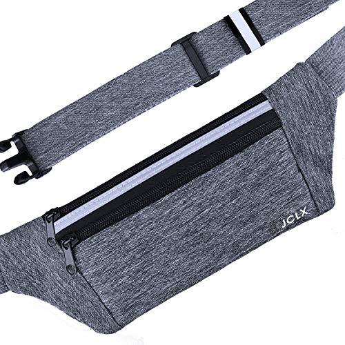 JCLX Running Waist Packs, Ultra Light Bounce Free Waist Pouch Fitness Workout Belt Sport Waist Pack Exercise Waist Bag for Apple iPhone 8 X 7 6+ 5s Samsung in Running Gym Marathon Cycling(Gray)