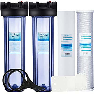 """Geekpure Whole House Water Filtration System w/ 20-Inch Big Blue 4.5""""x20"""" Filters (2 Stage with PP and Carbon (Clear Housing))"""
