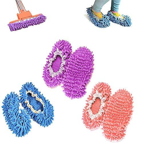 kitteny Mop Schuhe,3 Paare Einfach für Haus Boden Staub Schmutz Haare Reinigung,6 pcs