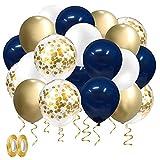 Juego de 50 globos de confeti de color azul marino y dorado con confeti de oro, globos blancos metálicos, para graduación, despedida de soltera, boda, compromiso, novia, fiesta de cumpleaños