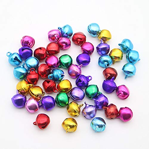 Qiwenr 300Pcs Campanellini Colorati,8MM Campanellini Natale Colorati Mini Natale Jingle Bells Campanellini Sonagli Piccoli Campanellini Metallo per la Decorazioni,per Decorazioni Artigianali